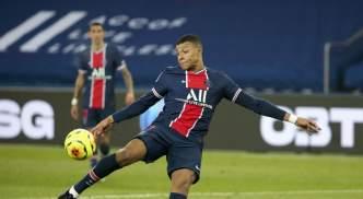 Kylian Mbappe in action against Brest